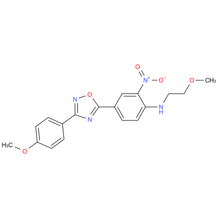 N-(2-methoxyethyl)-4-(3-(4-methoxyphenyl)-1,2,4-oxadiazol-5-yl)-2-nitroaniline
